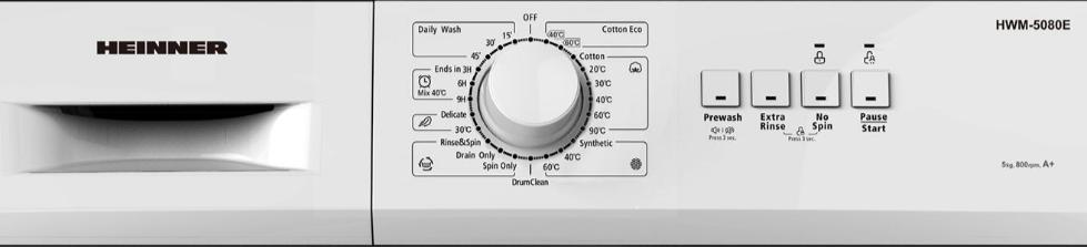 Heinner HWM-5080 programe si functii